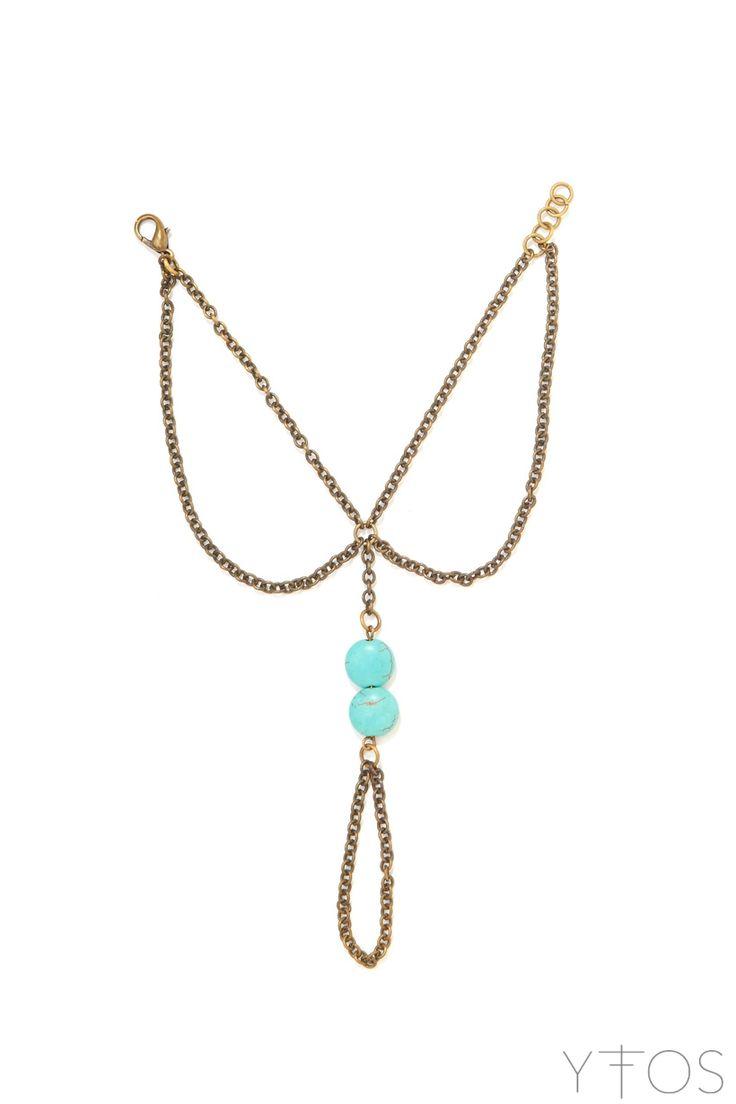 Turquoise Blue Stone Handchain Bracelet
