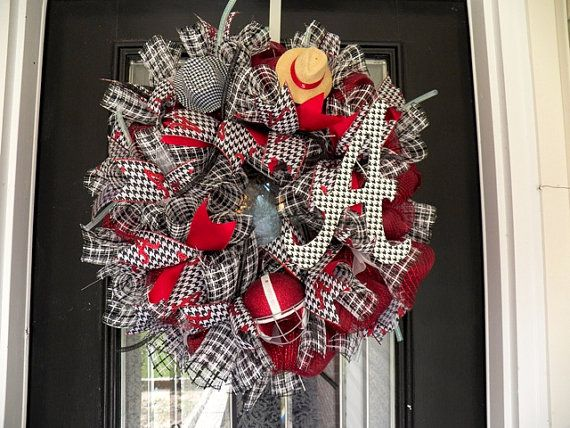 Alabama Football Wreath, Alabama Decoration, Alabama Door Hanger Ready to ship on Etsy, $82.99