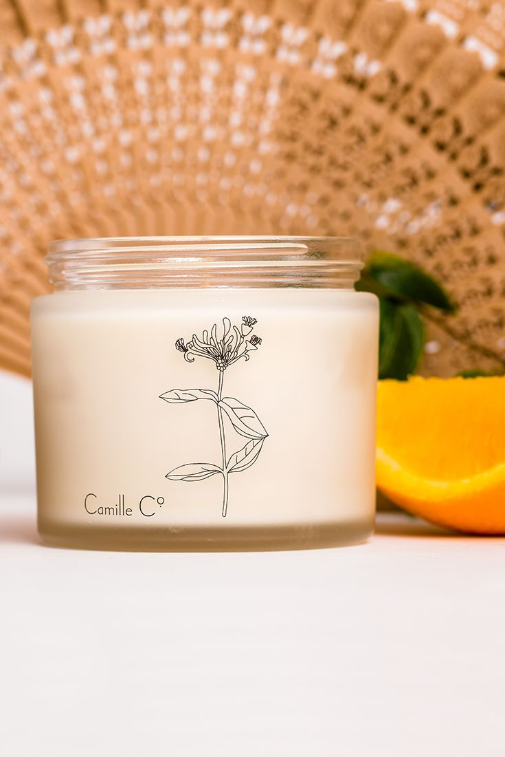Ginger & Wild Honeysuckle luxury soy candle by Camille Co. Made in New Zealand. Spicy hits of ginger chased by clove, cinnamon and nutmeg.