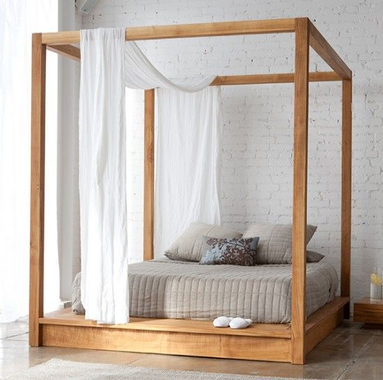 modern and contemporary four poster bed with various color scheme: simply modern canopy bed by mashstudio