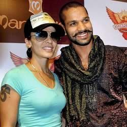 "Picture of Shikhar Dhawan with wife Ayesha, who has an ""Om"" tattoo."