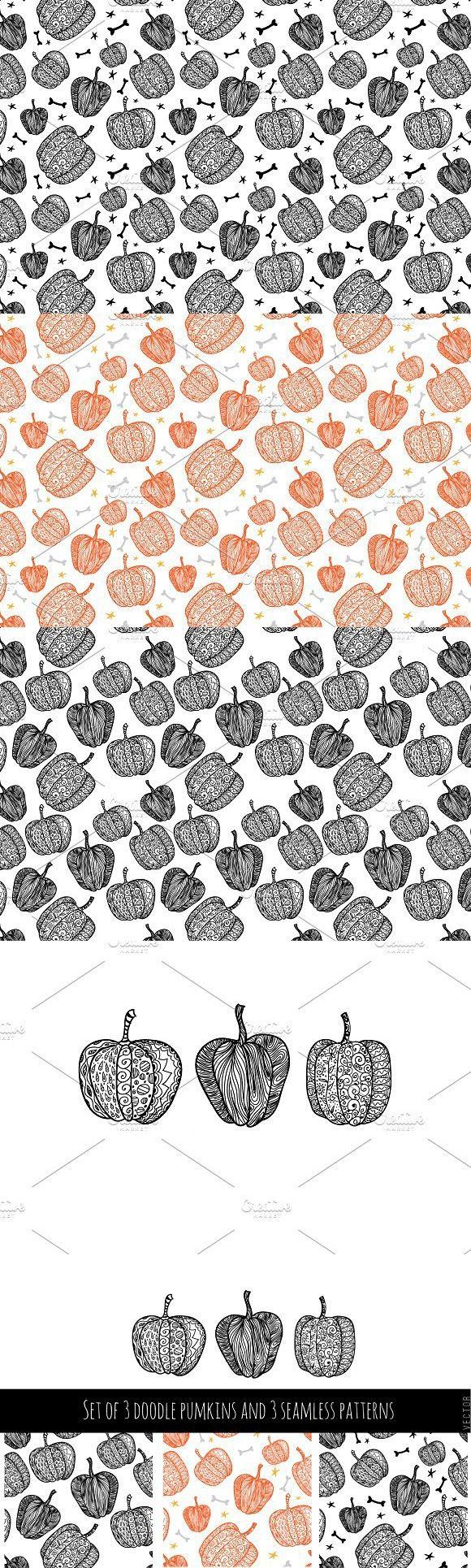 Set of 3 pumpkins and 3 patterns #halloween #vector
