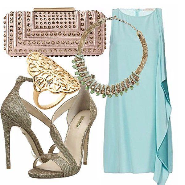 Per un invito speciale o un evento importante, il vestito verde acqua con drappeggio laterale è semplice, ma molto elegante. Giochiamo con l'oro per quanto riguarda i sandali, la collana torchon riprende il colore dell'abito, la clutch rosa antico con cristalli spezza con dolcezza e l'anello da cocktail per completare.