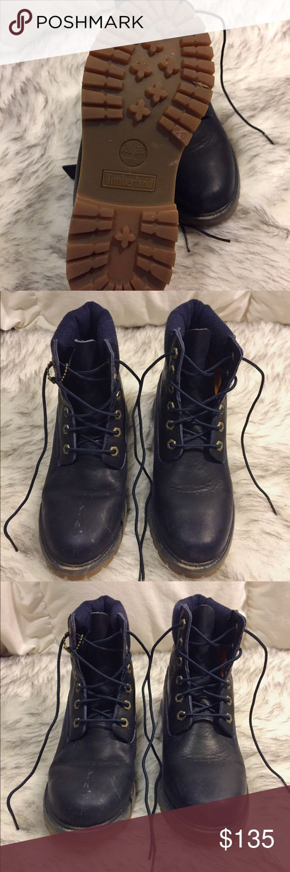 Timberland 6inch leather water proof boots Worn less than five times, sold out, retailed for $170, water proof and super warm! These are such sick boots! 7.5 women's. The white spots on the boots can be wiped away, I just didn't clean it lol Timberland Shoes