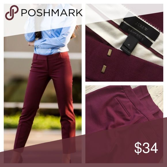 "J CREW cropped PANTS stretch Maroon wine skinny 4 In a deep wine/maroon color – these pants have the perfect amount of stretch, a little kick at the hem and look good on any shape.  Fitted through hip and thigh, with a straight, cropped leg.  Has side front pockets and back pockets (both still sewn shut).  Sits just above hip with banded waist band (hook and eye/zipper closure). Originally $118   SIZE & FIT DETAILS •    Size: 4 •    Material: Wool/viscose/poly/elastane •    27"" inseam J…"