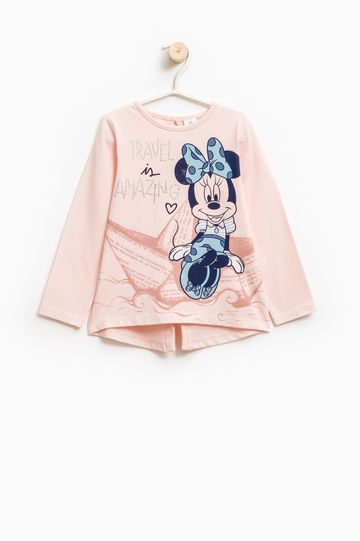 T-shirt with Minnie Mouse print and diamantés, Pink