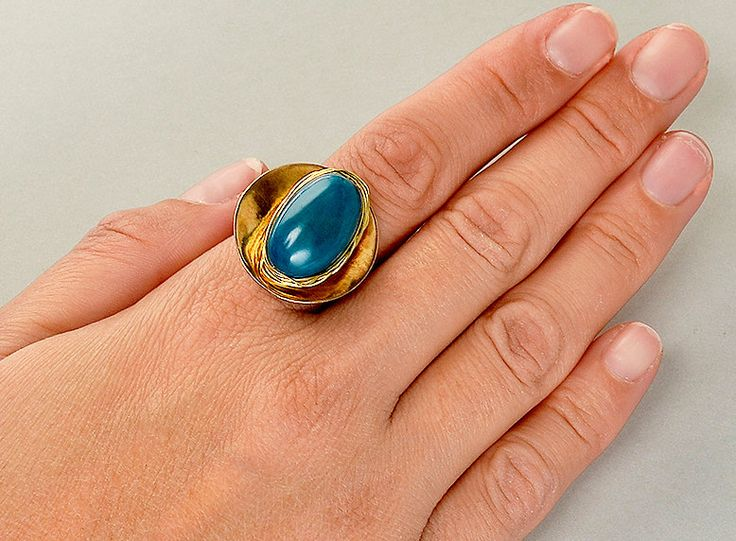 Petrol blue ring, tagua nut ring, gold chunky band, index finger ring, round disc ring, tribal jewelry, natural bead ring, gift for her by ColorLatinoJewelry on Etsy