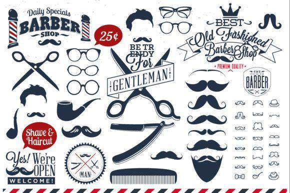 Collection of barber shop logo by Noka Studio on Creative Market