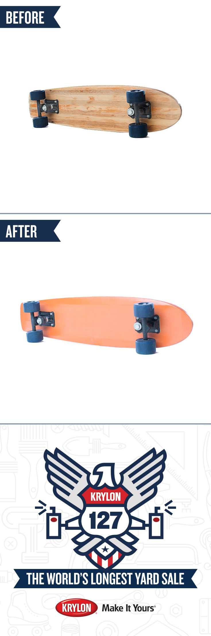 Sometimes a different color is all you need to ramp up your ride style.  Use Krylon ColorMaster Paint + Primer Pumpkin Orange  to give your wooden skateboard a new look. Now you're ready to hit the streets, or the half pipe. Let the makeovers from the #Krylon127YardSale inspire you to transform your favorite yard sale finds into treasures.
