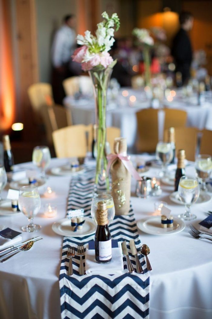 Décoration de table mariage: centre de table ronde et chemin de table