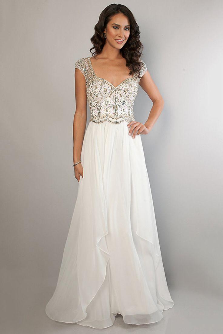 White dress chiffon - 2014 Off The Shoulder Chiffon Prom Dress A Line Beaded Bodice With Layered Chiffon Skirt Usd