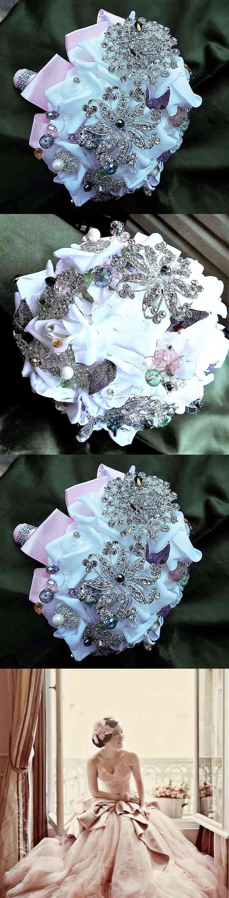 Brooch bouquet, pink, wedding bouquet, button bouquet, modern bouquet, white wedding, Bridal Bouquet, wedding brooch flowers, keepsake  Sarah Brooch Bouquet~ A simple and delicate with white roses, silver brooches and rhinestones each stone is wired tighter with different colored smaller stone, white foam roses compliment  neutral soft pink, lavender tones, delicate and (...) (via pushapin.com)