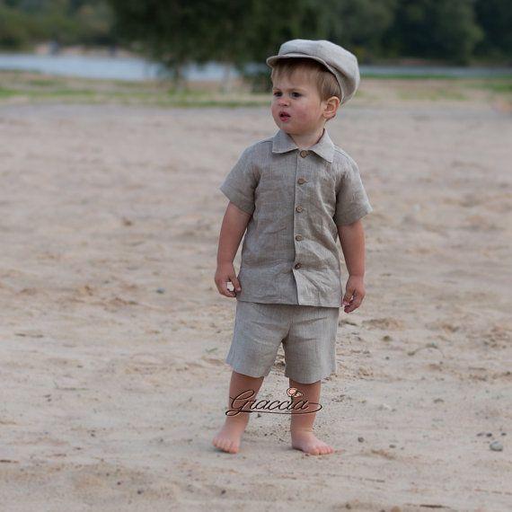 Bébé garçon Gavroche tailleur en lin anneau porteur par Graccia