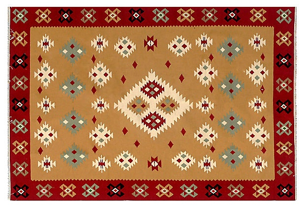 "6'2""x9'3"" Romanian Kilim, Crimson/Multi on OneKingsLane.com"