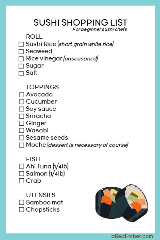 Sushi at Home - Shopping list for your first at home sushi