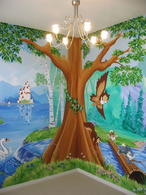 292 best mural painting images on pinterest mural for Enchanted forest mural