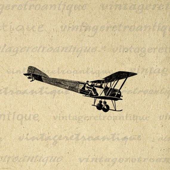Plane and Pilot Digital Printable Download Antique Airplane Image Graphic Vintage Clip Art. Printable image graphic from vintage artwork for making prints, fabric transfers, t-shirts, and other great uses. Great for etsy products. This digital graphic is high quality, high resolution at 8½ x 11 inches. A Transparent background png version is included.
