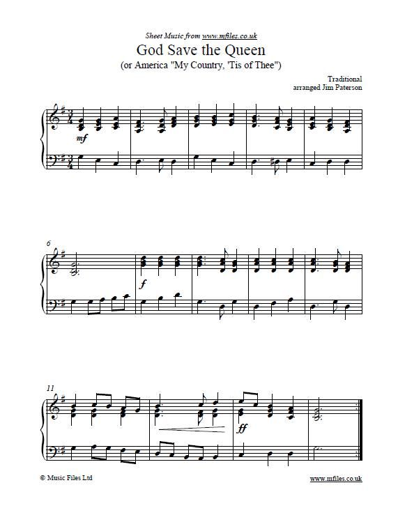 God Save the Queen (for piano or keyboard) - National Anthems are often played as an important part of Remembrance Day and Memorial Day services