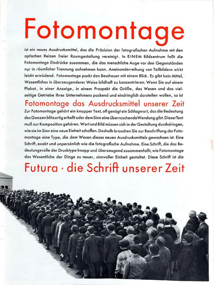 """Beilage """"Für Fotomontage – Futura"""" S. 3 Gebrauchsgraphik, Jhg. 6, Heft 3 (März), 1929, S. 49–52"""