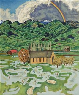 New Zealand painter Rita Angus (1908-1970) | Flood, Hawke's Bay, 1955-56