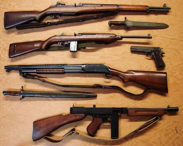 M-1 Garand 30-06- M-1 Carbine .30 cal- Winchester 1897 Trench Gun 12ga.-Thompson Sub Machine gun-45acp
