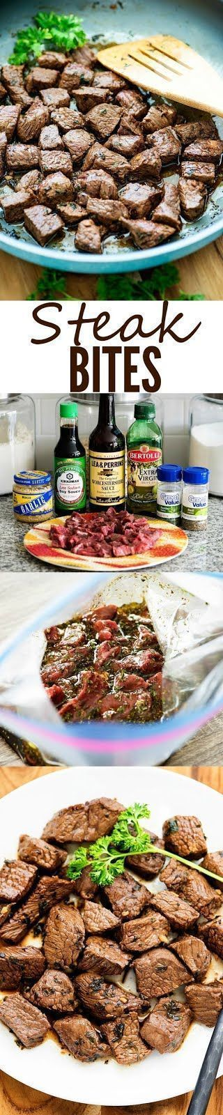 Little bites of steak coated in a flavorful marinade. We love these for a quick dinner!