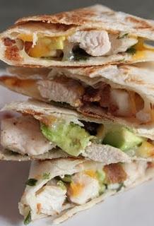 chicken, avocado & bacon quesadillas