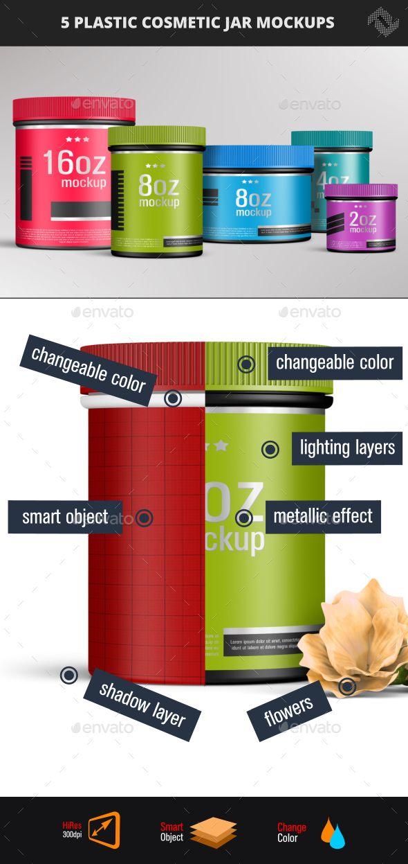 5 Polypropylene Plastic Cosmetic Jar Unlined Screw Cap Mockups - Product #Mock-Ups #Graphics