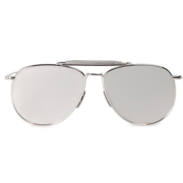 Thom Browne Aviator Mirrored Sunglasses ($600) ❤ liked on Polyvore featuring accessories, eyewear, sunglasses, argento, mirror sunglasses, thom browne glasses, uv protection sunglasses, mirror lens aviator sunglasses and mirrored glasses