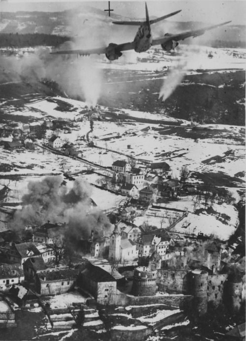 Bristol Beaufighter X of No.19 Squadron, SAAF, attacking the German-occupied town of Žužemberk, Slovenia