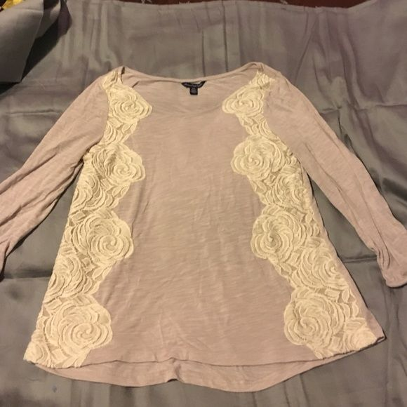 Rose lace American eagle shirt! Fun rose lace American eagle shirt! Basically brand new! Make me an offer, I ship next day❤️ American Eagle Outfitters Tops Tees - Long Sleeve
