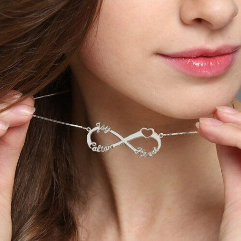 Sterling Silver Heart Letter Infinity Name Necklace - Belis Delights