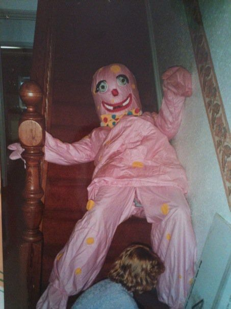 """""""In the UK we had a TV 'personality' called Mr Blobby. My father hired a Blobby costume for my school fair and after trying it on for the first time tripped and fell down the stairs, splitting the suit on the bottom in doing so. Yes that's me at the bottom of the stairs blissfully […]"""