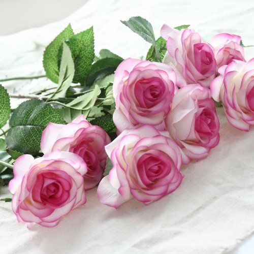 Silk Artificial Like Real Roses Bouquet Latex Touch Flowers For Wedding Bridal Bridesmaid Home Decoration