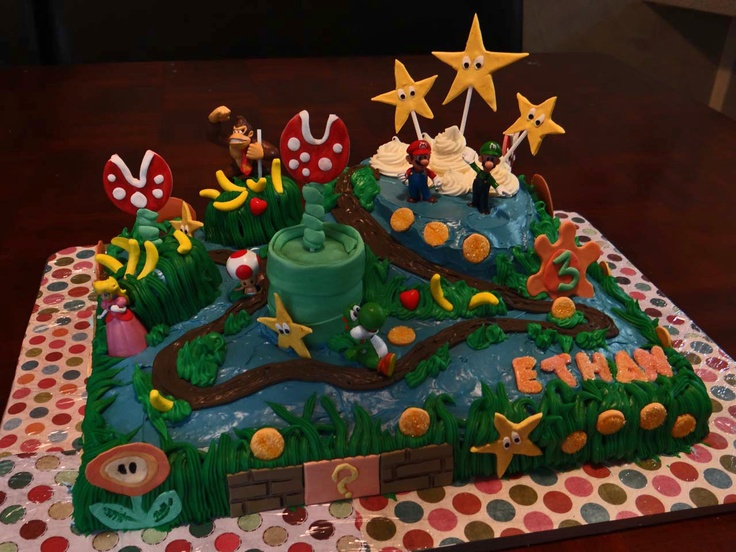 I made this Super Mario cake for Ethan's 3rd birthday! I made the decorations out of gum paste and frosted the cake with cream cheese icing. It was my first time using gum paste but it worked out well, and Ethan loved it!