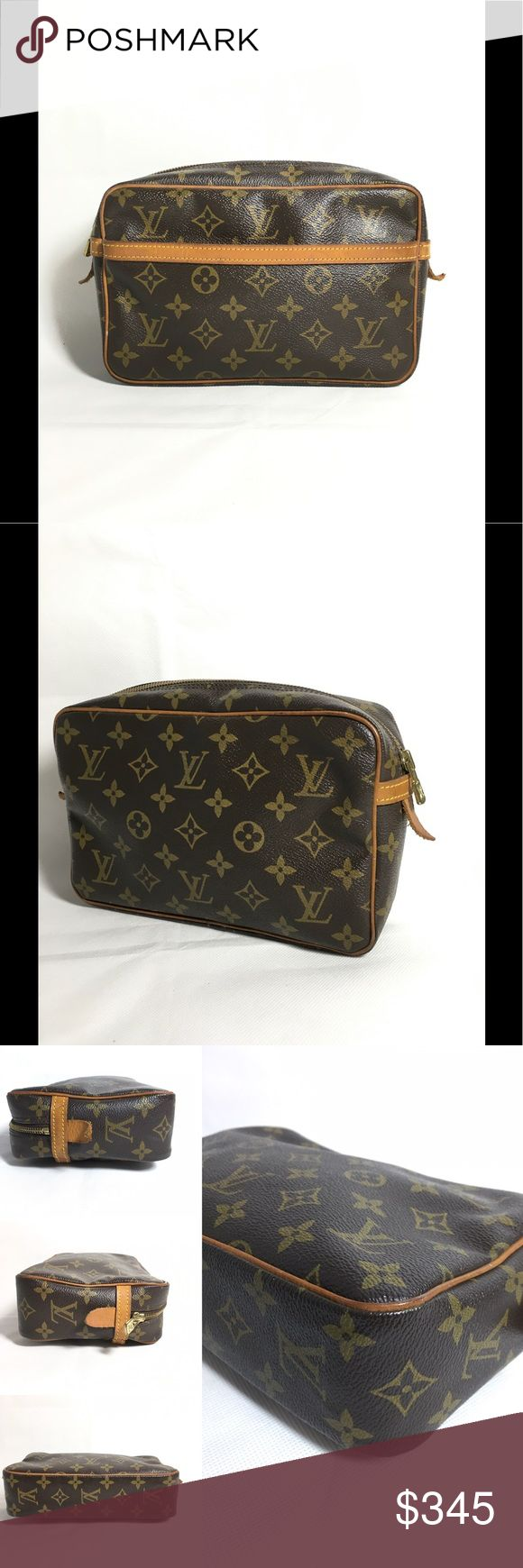 Authentic Louis Vuitton Cosmetic Bag No lowballing, no trade  LV Malletier  S#FH0920  Material: Monogram canvas, leather  Gently used condition  The exterior is overall well kept. Rubbing and some marks on the piping and corners. Small scratches and rub marks on the leather trims. Interior pocket shows aging of leather, light patina, rubbing and light peeling  Interior has very few light marks in the main compartment but the pocket shows peeling without stickiness and uneven coloring. A…