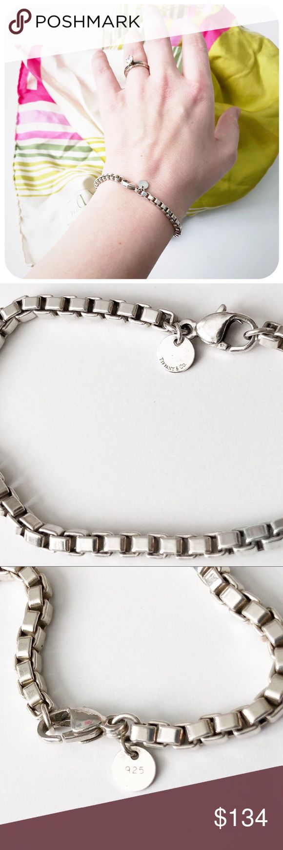 """{{ Tiffany & Co }} Sterling Venetian Link Chain Authentic Tiffany & Co. 'Venetian Link' box chain sterling silver bracelet. Round hang tag with 'Tiffany & Co' and '925' stamps. Clasp also stamped 925.  {{ CONDITION }} Excellent - minor patina and scuffing, original blue bag and box not included  {{ MEASUREMENTS }} Length - 7.5""""  {{ TAGS }} luxury tennis classic preppy square tiffanys jewelry engagement valentine's return to gift feminine pretty designer charm modern present timeless heart…"""