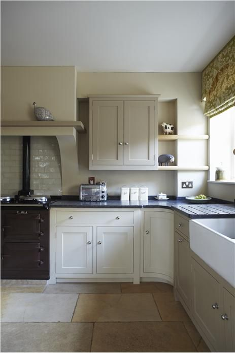 Kitchen with walls in Savage Ground Modern Emulsion, units in Savage Ground, London Stone and Wimborne White Estate Eggshell
