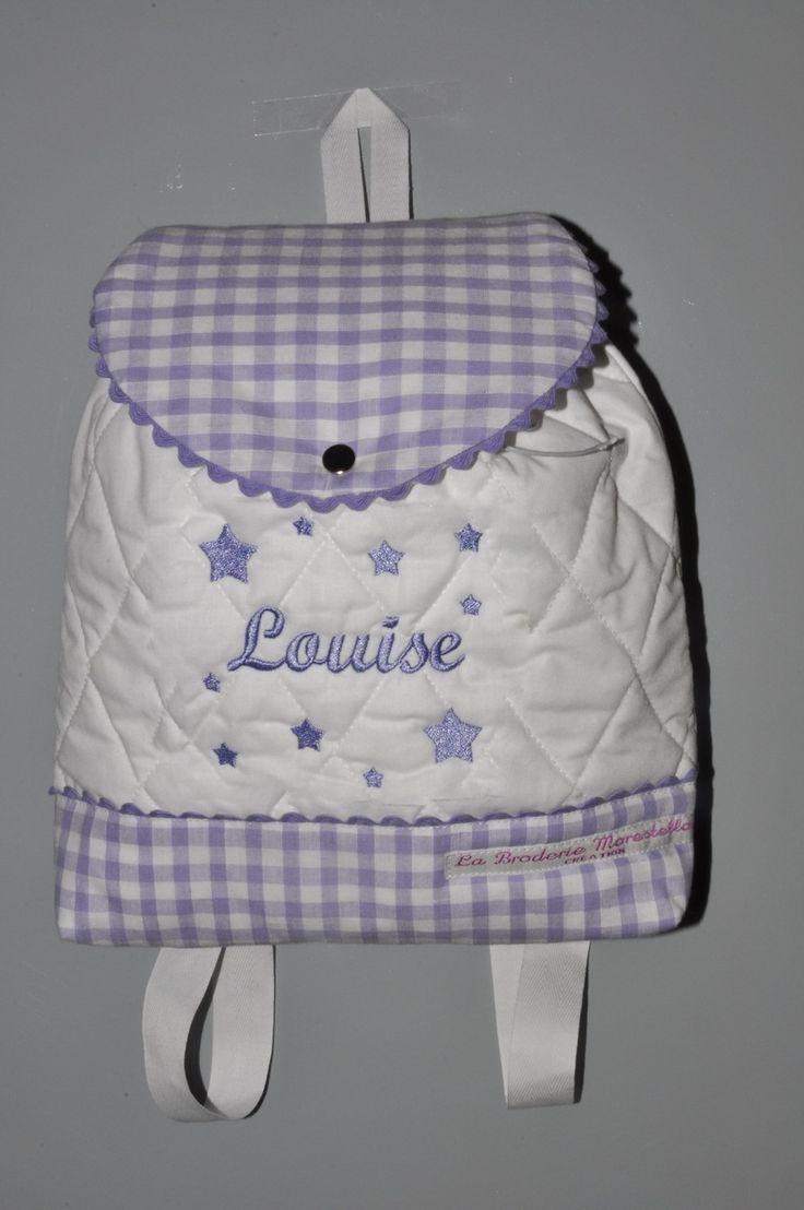 Sac a dos mauve violet enfant étoiles brodées personnalisé au nom : Sacs à dos, cartables par lbm-creation