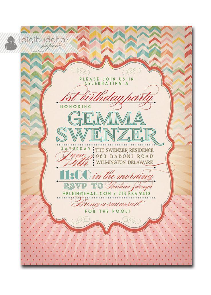 1st Birthday Invitation Modern Vintage First Birthday Rainbow Typography Starburst Birthday Party Printable or Printed - Gemma Style. $23.00, via Etsy.