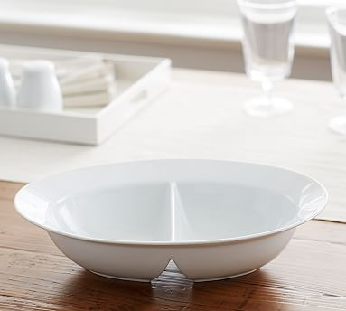 Great White Oval Divided Serve Bowl #potterybarn