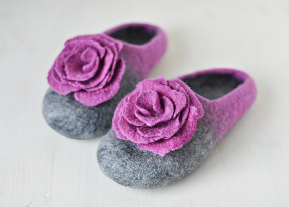 Handmade slippers Grey & Lilac  Made to by ShpilkaFelt, $65.00