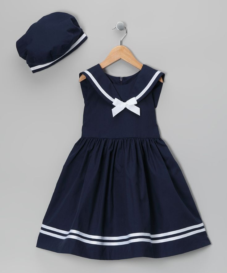 Navy Dress & Beret - Infant, Toddler & Girls//