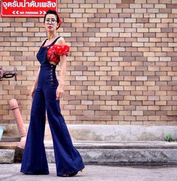 Women's Denim jean jumper  high waisted bell bottom  - vintage 70s fashion