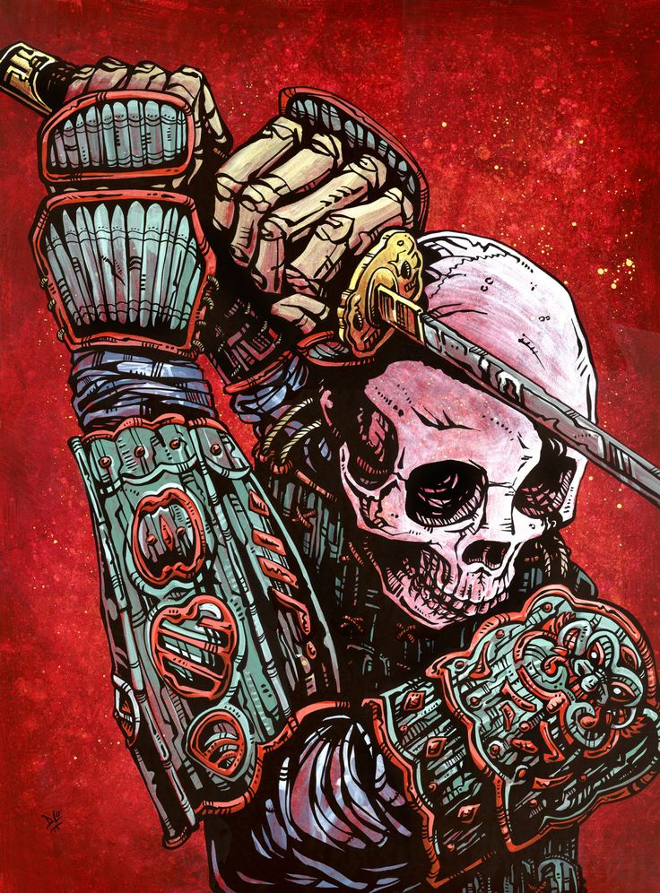 A samurai warrior exudes a deadly combination of control and strength. Painting…
