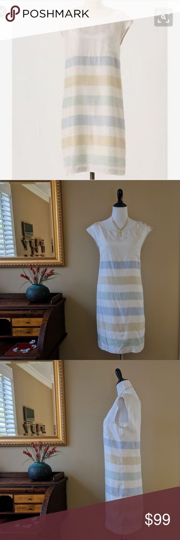 "NWT Anthro Odille Silk Shore House Shift Dress 10 This new with tags ""shore house shift dress"" from Odille for Anthropologie features a 100% silk shift dress with pastel nautical stripes and nautical buttons along left shoulder. Extra button and slip included. Size 10. Approx 19.5"" across the bust when flat, 35"" long. New condition. Anthropologie Dresses"