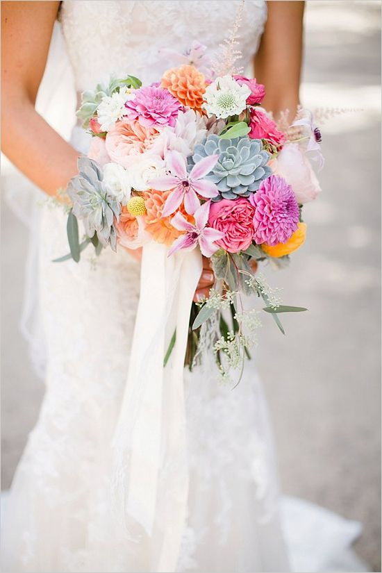 succulent and hot pink bouquet @weddingchicks