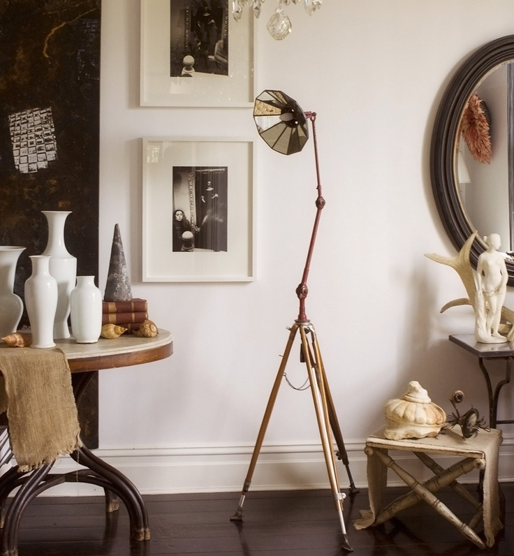 I found these mirrored treasures literally buried in cardboard boxes-which I combined with an industrial tripod also a beauty to make this light- As seen in Vogue Living