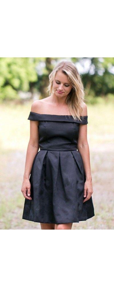 Lily Boutique Vintage Elegance Off-Shoulder Dress in Black, $40 Black Off Shoulder A-Line Dress, Little Black Dress, Cute Black Dress Online www.lilyboutique.com