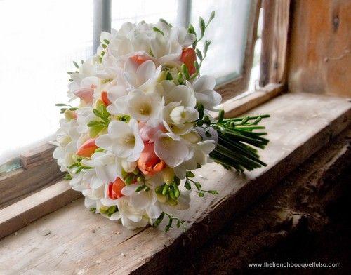 White and Coral Freesia, Tulip, and Ranunculus Bridal Bouquet - use  purple alstromeria or tuplips instead of coral freesia?